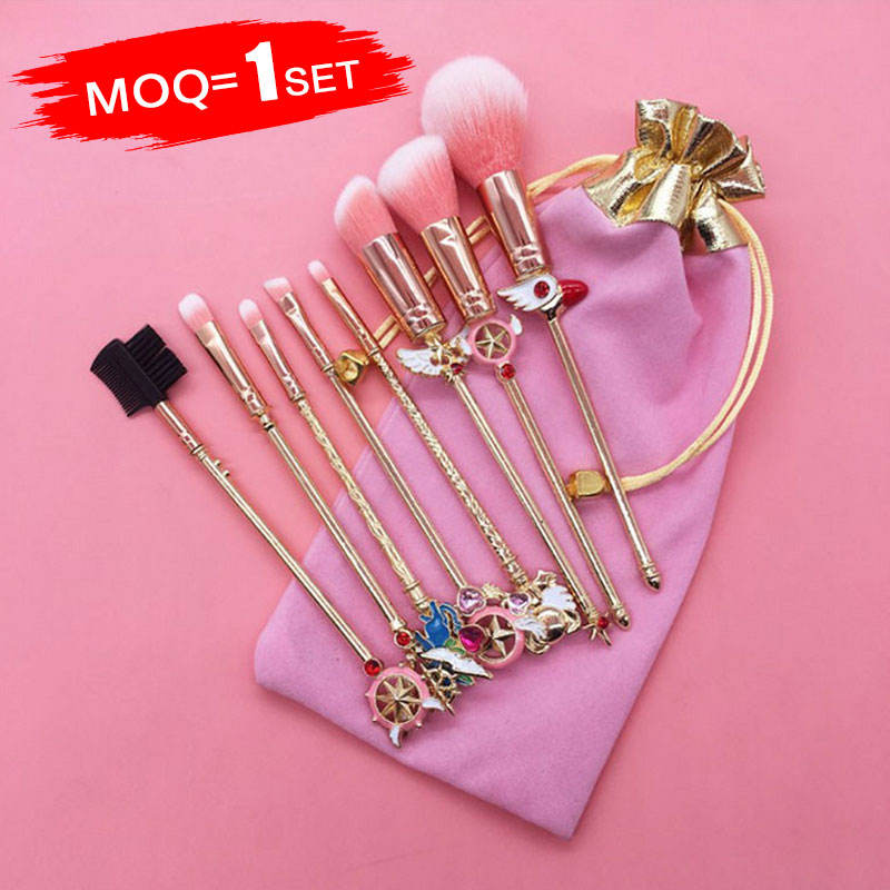 Shijiazhuang Manufacture New Product 8 PCS metal Handle Pink Hair Make up Brushes