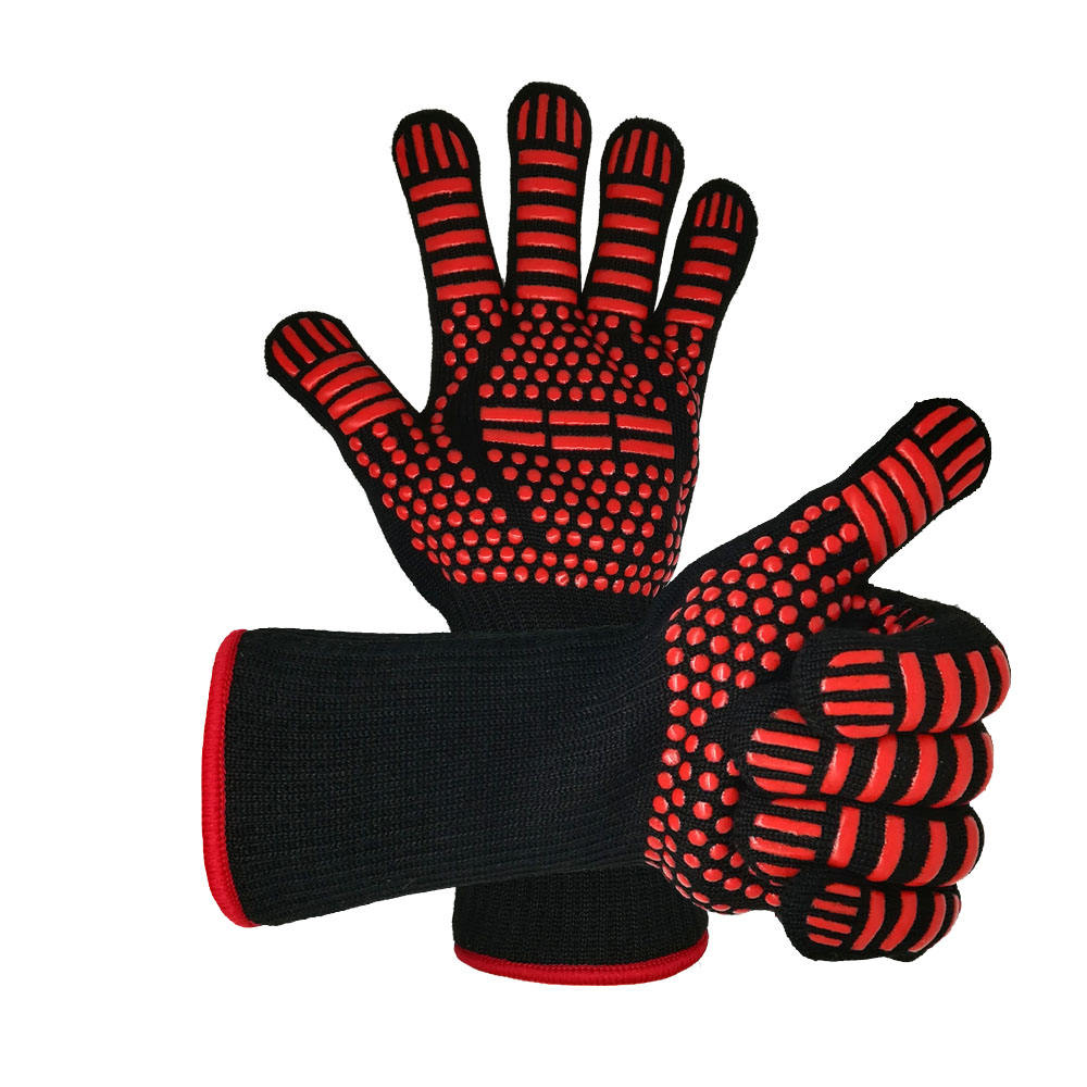 Red heat resistant silicone aramid heated gloves