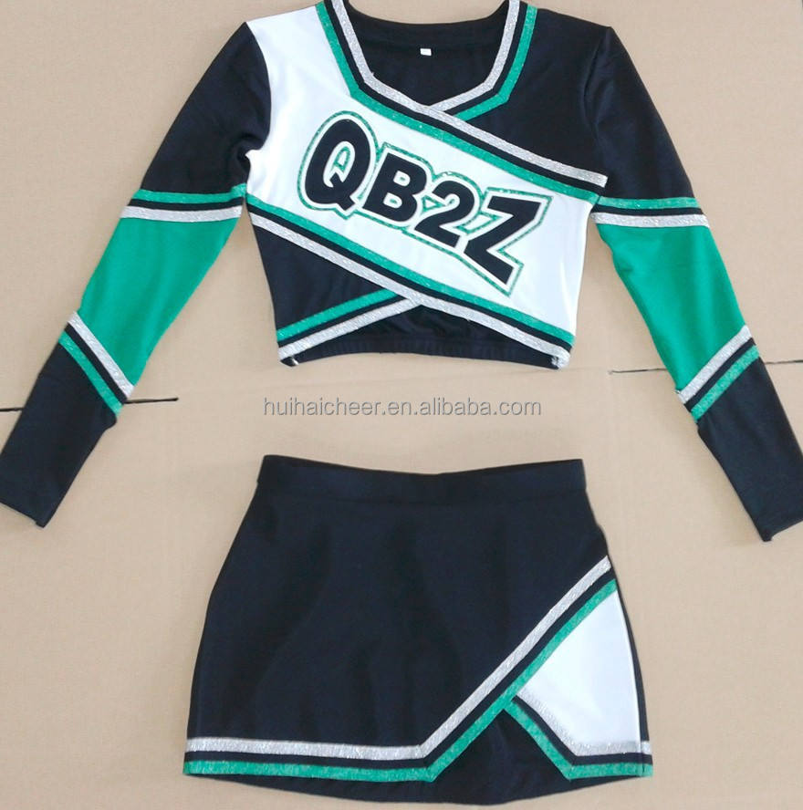 spandex cheerleading uniforms: long sleeve top and skirt