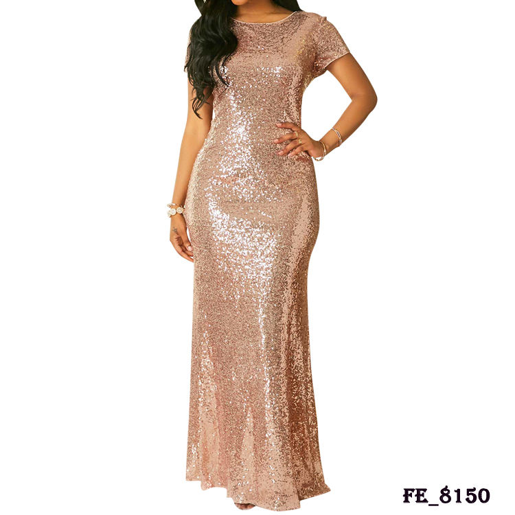Wholesale cheap formal short sleeve gold sequin bridesmaid dresses long gown wedding