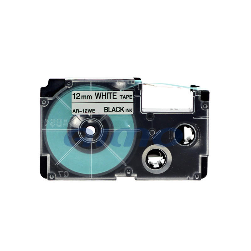 12mm ez label printer xr-12we black text white tape label tape wholesale made in china for Casio