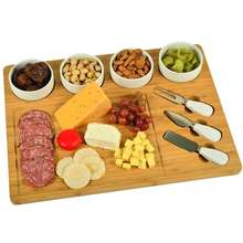 "Large Bamboo Cheese Charcuterie Board with 4 Ceramic Bowls & 3 Stainless Steel Cheese Tools -17"" x 13"""