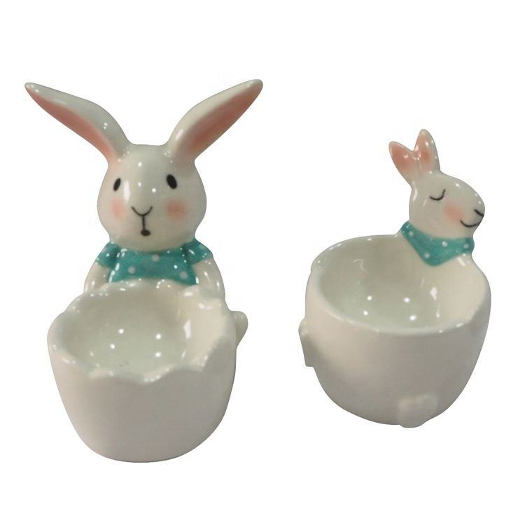 Bunnies glazed white decorations with egg cup easter bunny craft kit painted ceramic rabbit