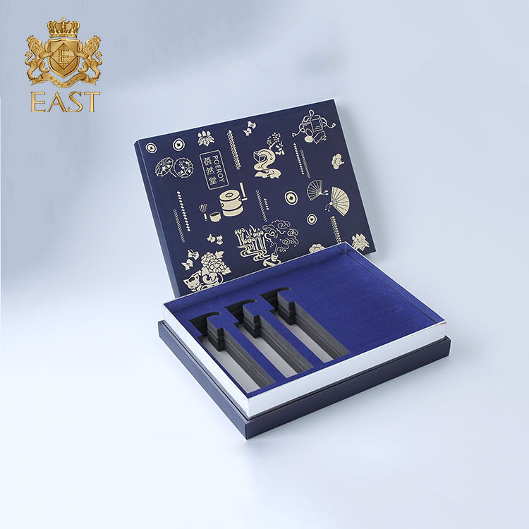Blue Pre-curing UV Gift Health Care Box With Whole EVA Neto,Fancy color box make up brush set for gift