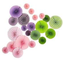 Birthday Christmas festival wedding party decoration colorful paper fans and poms flower set