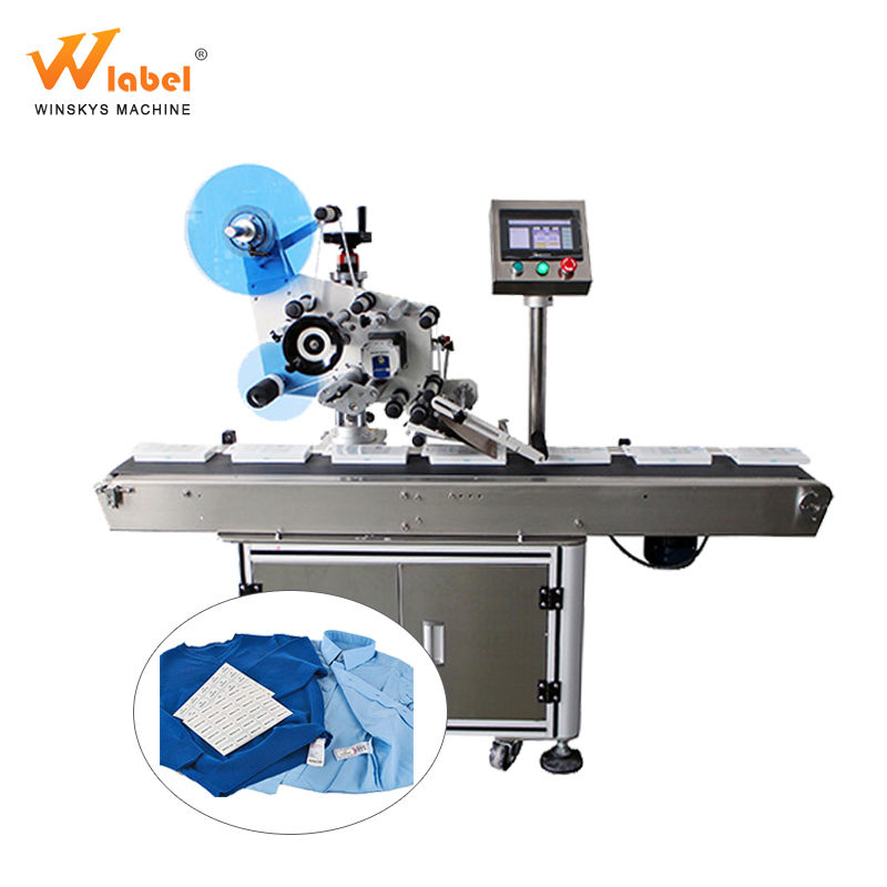 High precision automatic security rfid label applicator labeling machine on a flat surface for clothes