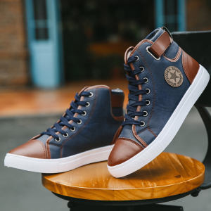 Reliable Supplier Brand Denim Fabric Walking Shoes Trend Retro High-top Men Shoes Sneakers