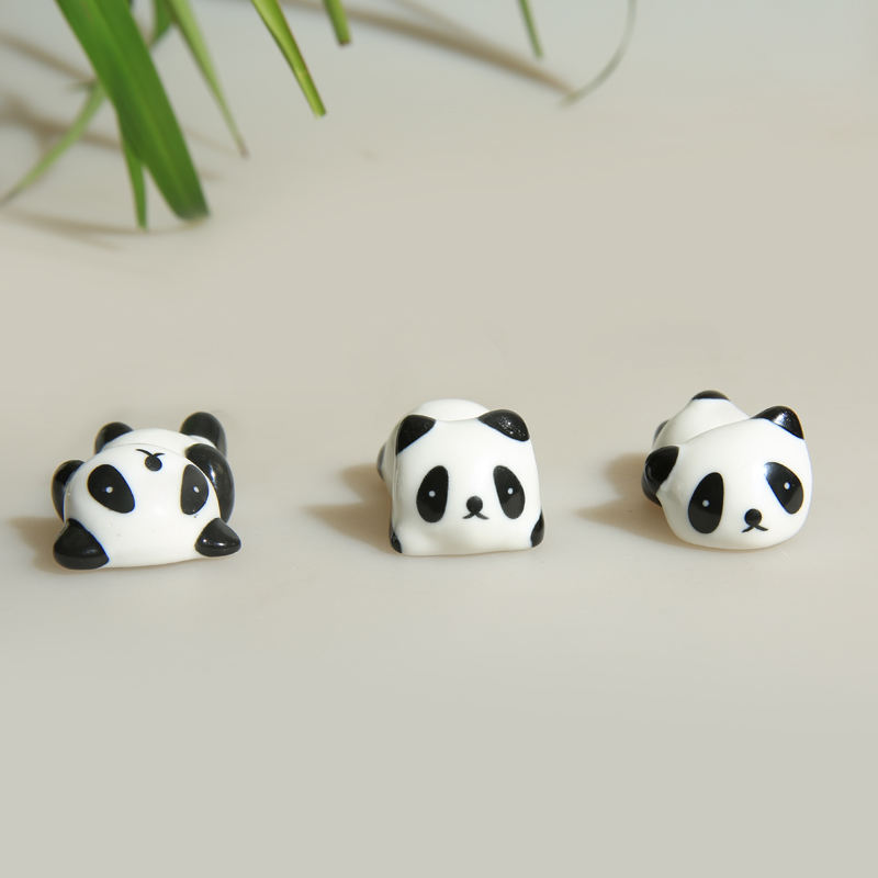 Porcelain Panda Pen Rest Chopsticks Rest Table Knickknack