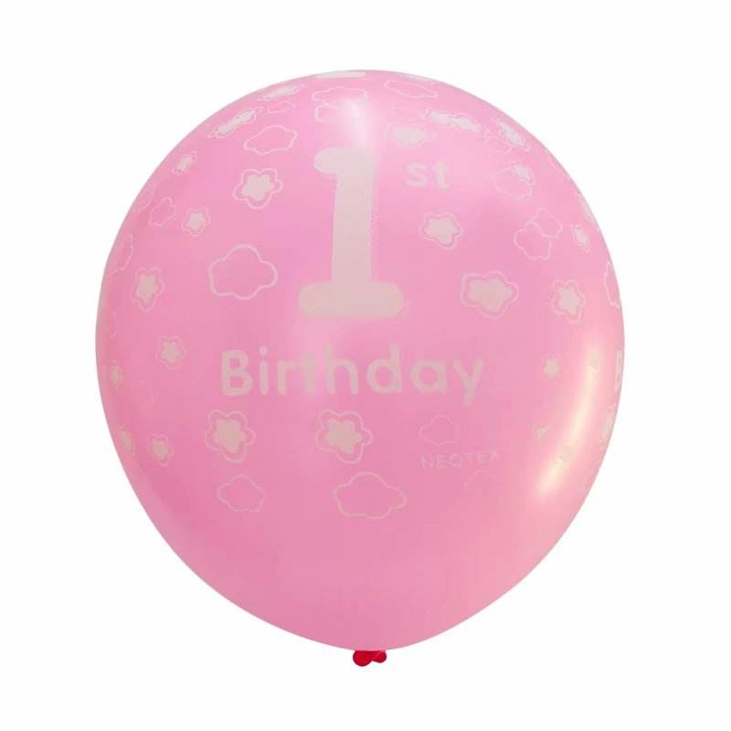 12inch Baby Number 1 Printed Boy Girl Latex Balloons Decor 1 year old Birthday 1st Party Banquet Pink