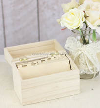 Natural solid wood Recipe Box with Dividers