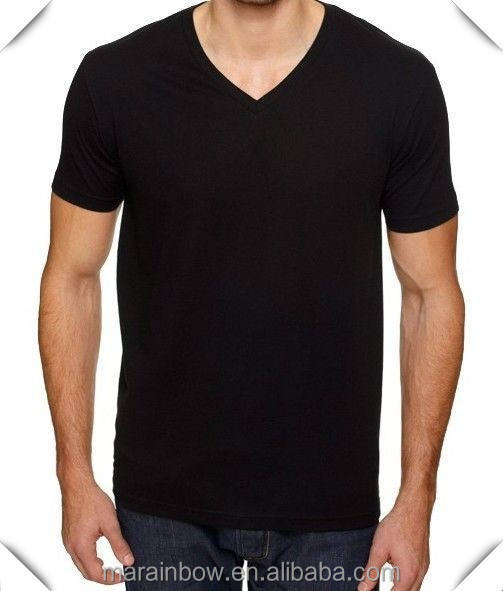 Custom New Mens 100% Cotton Blank Tee Black Mens Cotton Plain Black V Neck T Shirts