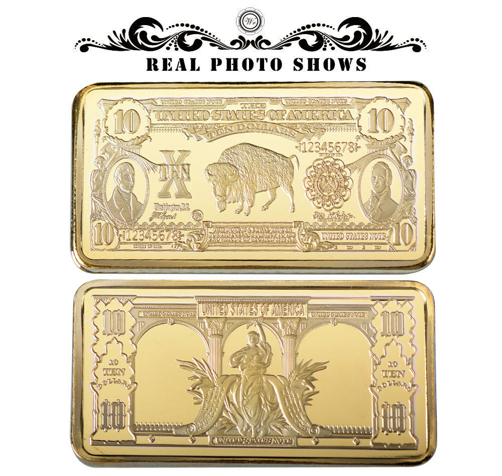 1901 USD 10 Bill Pure Gold Bar Home Decorative American Banknote Gold Art Crafts 24k Gold Bar Ornament Wholesale Price
