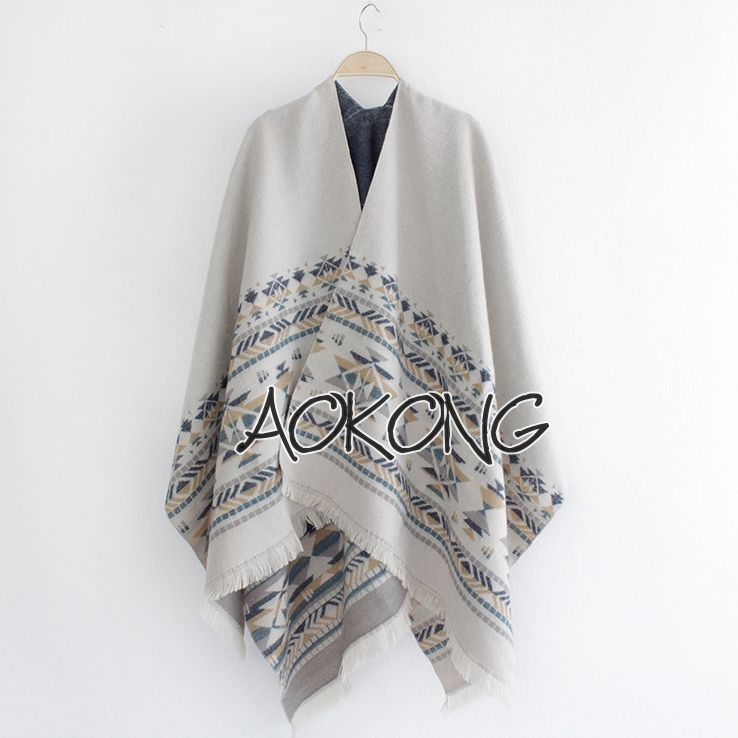 New arrival women gray color aztec tribal poncho cape