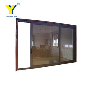 Alu.Door Fabricated by YY Construction With Wooden Grain Color and Blinds in built Constrol by Motor_Used Commerical Glass Doors