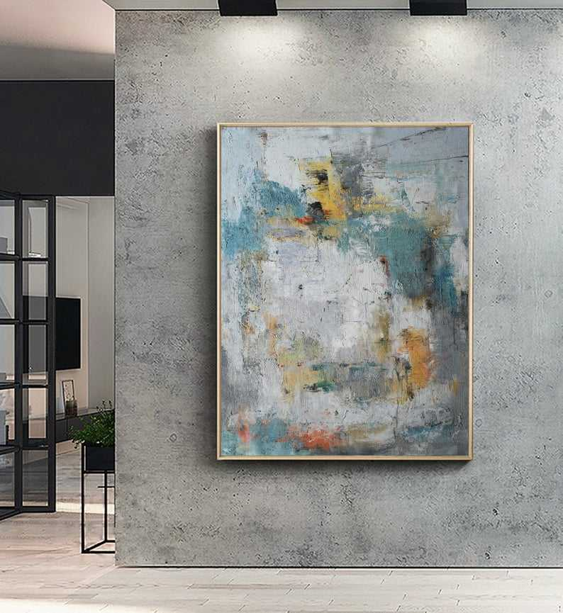 Fast Delivery Vertical Abstract Textured Painting Modern Wall Decoration Art with Golden Frame