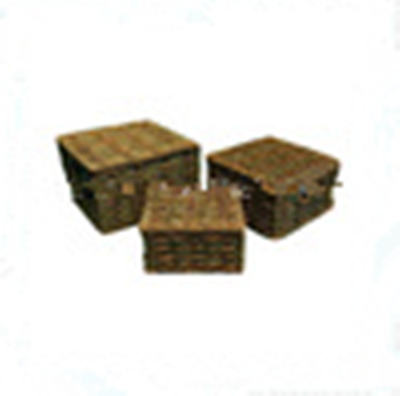 square rectangular woven 12 x 12 storage baskets with lid