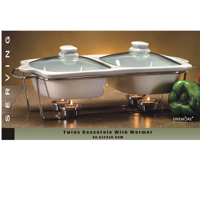 ONEMORE Double Warmer Casserole with food warmer Ceramic Casserole