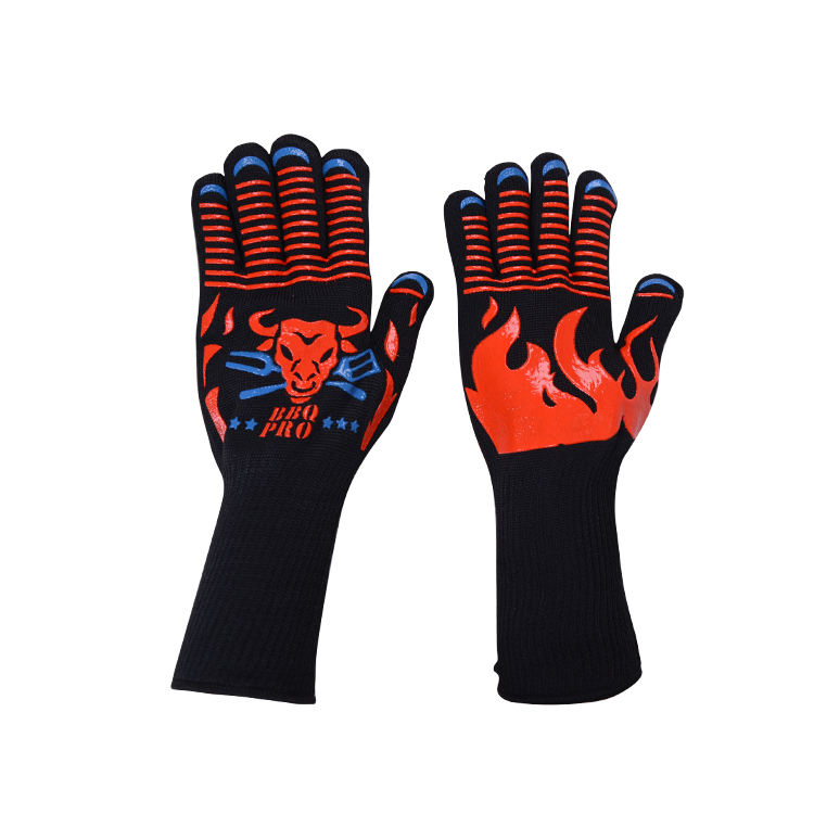 Factory Price Non-Slip Silicone Printed Cooking Gloves Oven Mitts