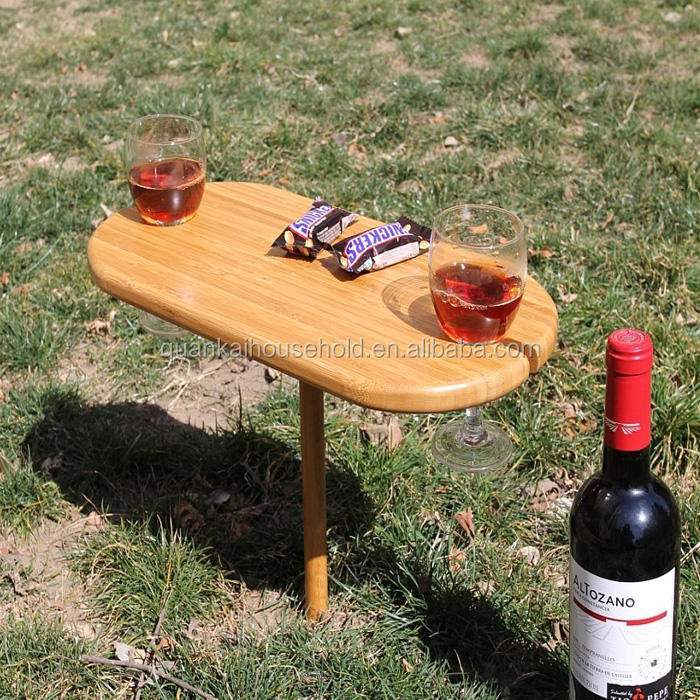 Tragbare 2 Person Bambus Wein Snack Portion Tisch Tablett