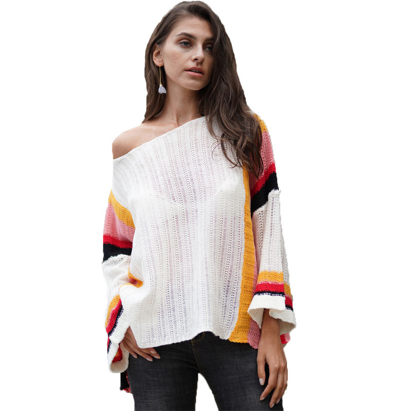 Clothing suppliers wholesale custom ODM women's loose rainbow shoulder sweater round collar