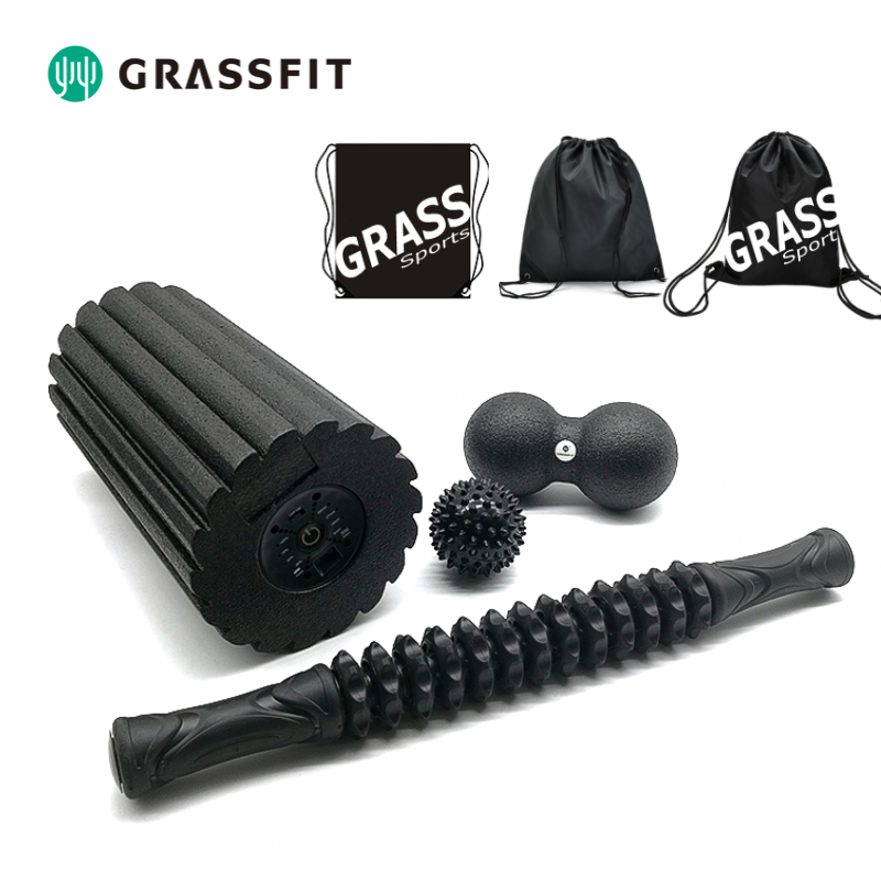 Gym yoga fitness foam roller set for myofascial release and increase mobility
