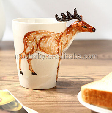 Creative Animals 3D Animal Handle Ceramic Mug 300ML Thermal Water Cup for Christmas And Birthday Gift Promotional