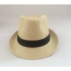 Leather strap wide brim beige slash top hat cheap wholesale stocks mens fedora hats straw