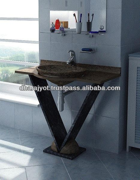 Black Cabinets Marble Standing Washbasin