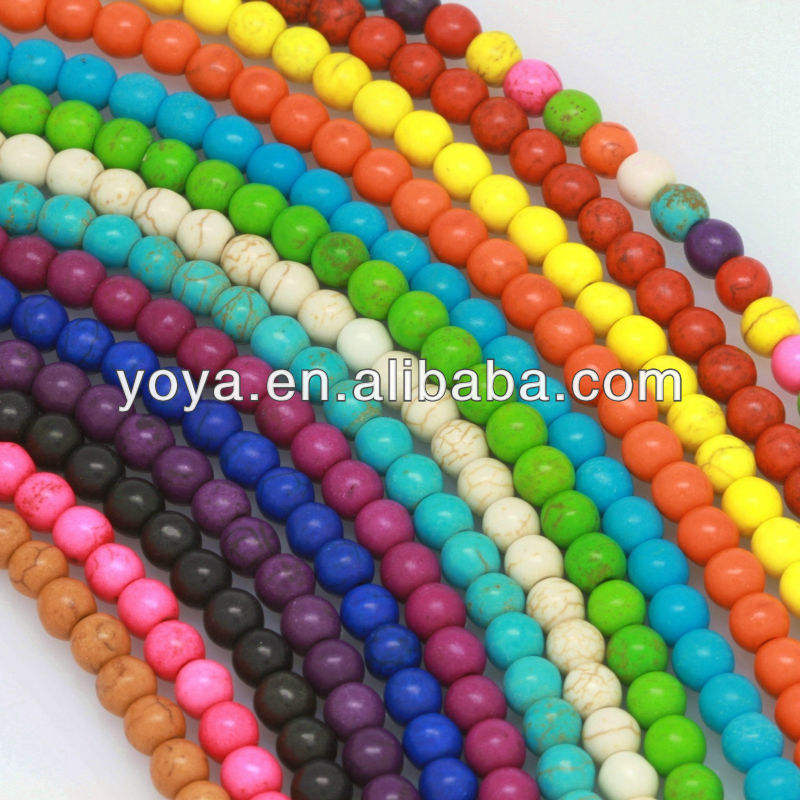 TB0157 4-20mm Cheap Synthetic handmade Colorized Howlite 12mm Turquoise Beads