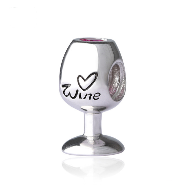14k gold White CZ wine glass goblet party charm Pendant