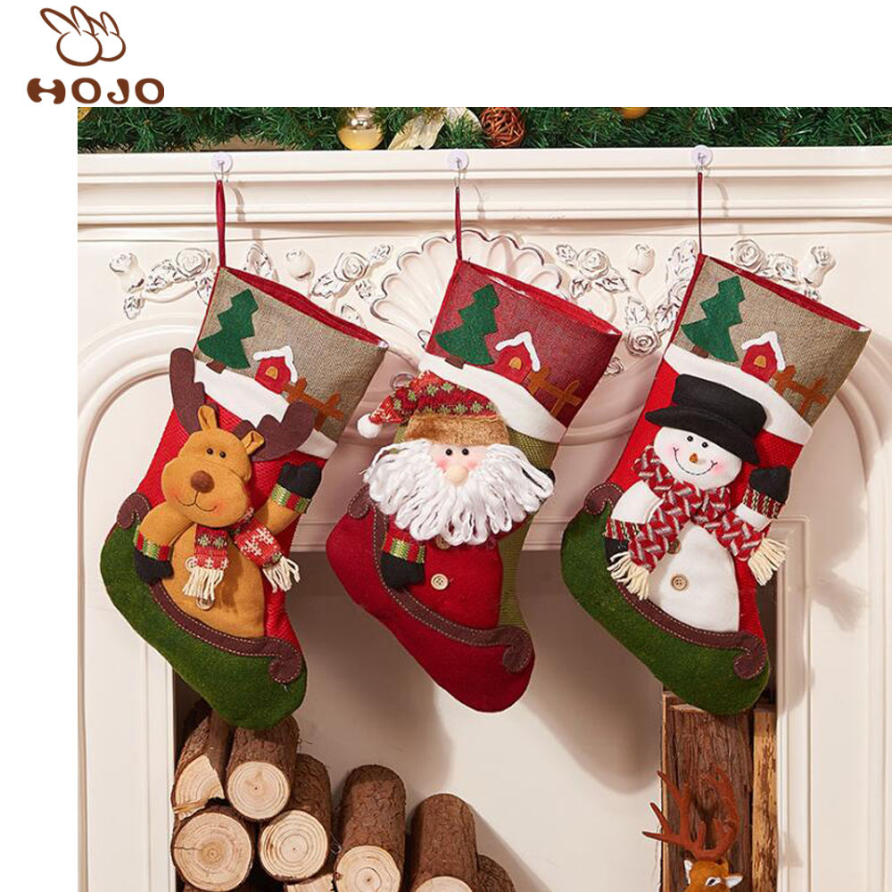 Christmas Santa 14inches Candy Bag, Reindeer Santa Snowman Gift Socks Hanging Accessories for Xmas Tree Decoration