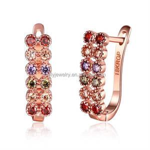 2019 Fashion Brilliant MultiColor U Shape Earrings Rose Gold Plated Cubic Zircon Wedding Earring