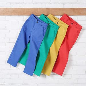 Child Color Cotton Cargo Pant Cheap Color Fade Proof Washed Twill Chino Trousers Stock for Little boys 4-14 Years