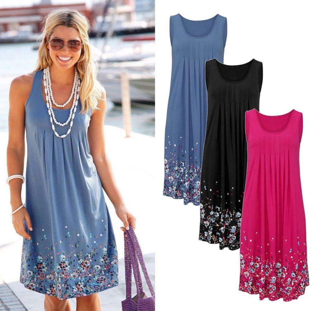 UK Summer Womens Boho Sleeveless Party Beach Mini Dress Holiday Floral Sundress