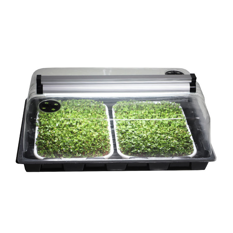 propagation lights grow mini microgreen hydroponic agriculture plastic square propagator tray dome set kit seed propagator