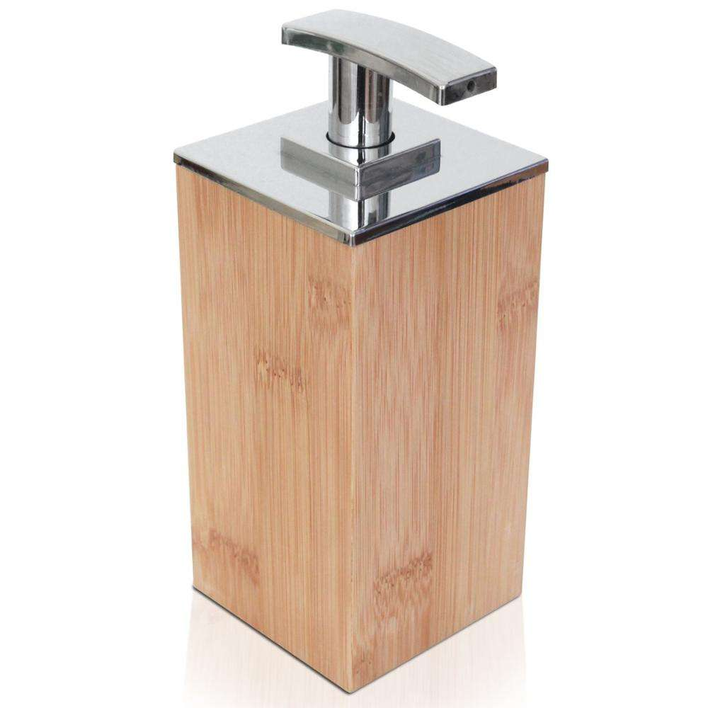 Natural Wooden Bamboo Soap and Lotion Pump Dispenser for Kitchen, Bathroom