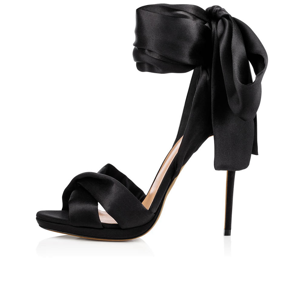 Ladies Red Dress Heels Summer Thin Heel Platform Wrap Shoes Sexy Lady Elegant High Heeled Dress Shoes Black Satin Sandals Women