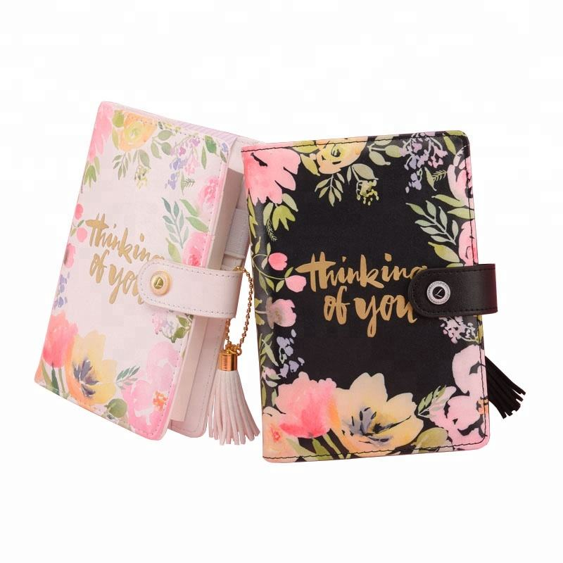 2018 a5 a6 size pu faux leather custom flower printing notebook planner binder