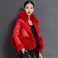 High Quality Women Winter Clothing With Real Fox Fur Collar Custom Fashion Real Sheep Leather Red Leather Jacket