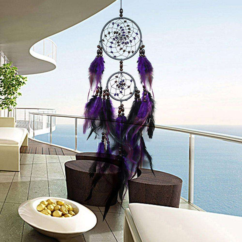 NEW Feather Crafts Purple Dream Catcher Handmade Dreamcatcher Net With Beads for Wall Hanging Home Car Decor
