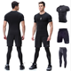 Men's Dry fit T-shirt Gym Running Shorts Capri Leggings Three Pieces Fitness High Compression Garment Clothing Sets for Man