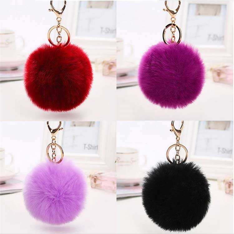 Packaging Customization Keychain Fur Ball Fur Ball Keychain Plush Unicorn Plush Key Chain Pom Pom Keychain Fur Ball Keychain