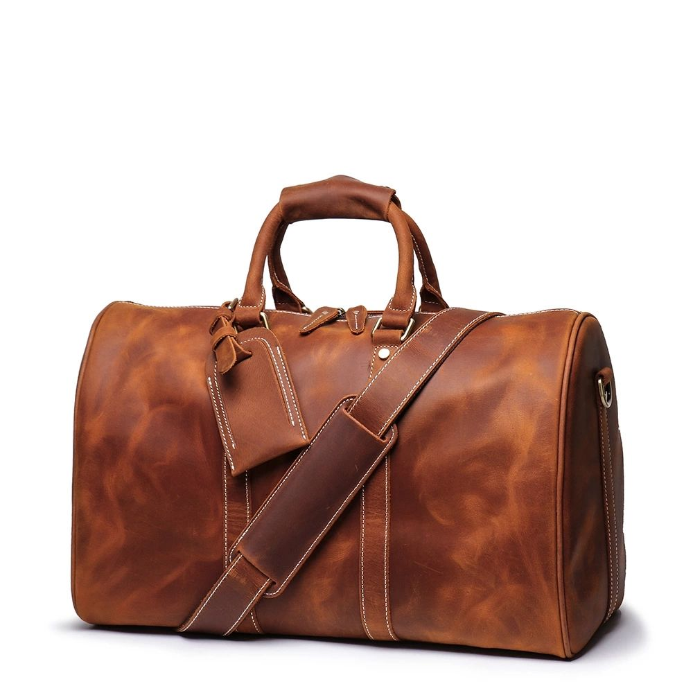Large Capacity Business Weekend Bags Genuine Leather men Travel Duffel Duffle Holdall Bag Without The Shoe Pocket