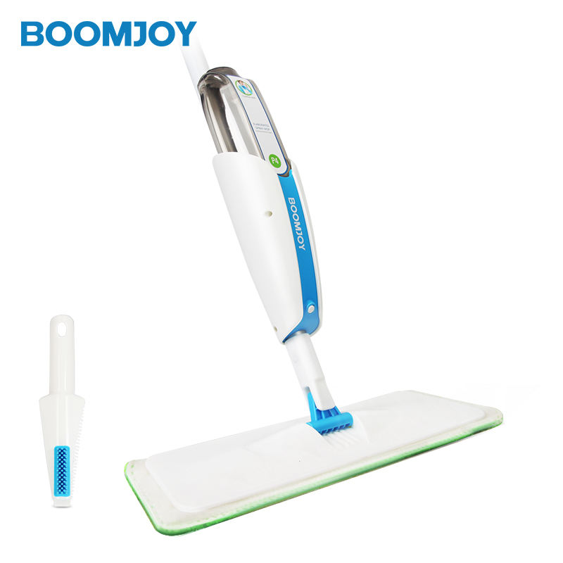 Boomjoy spray mop P4 easy life clean set for both wet and dry cleaning with 1 microfiber pad and a small mop box.