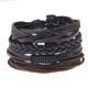 YWMT Wholesale Fashion Wooden Beads Ship's Anchor Faith Friendship Braided Black Leather Bracelet Men