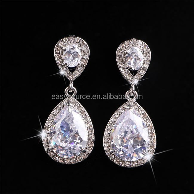 Shiny Kristal Zircon Dangle Earrings Mode Berlian Imitasi Bridal Drop Earrings Pernikahan Perhiasan Aksesori