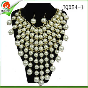 wholesale african jewelry sets pearl earring and necklace for party
