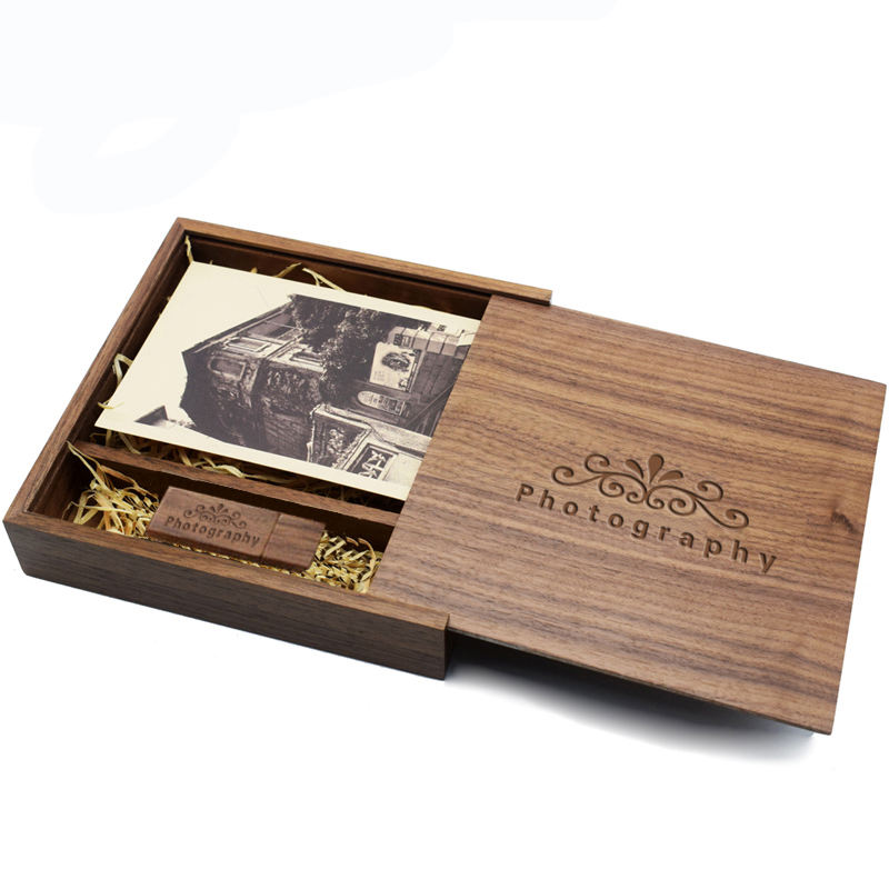 Walnut Wooden Photo Album Box + USB 2.0 Flash Drive Pendrive Custom Engraved Logo Wedding gifts packaging wood box