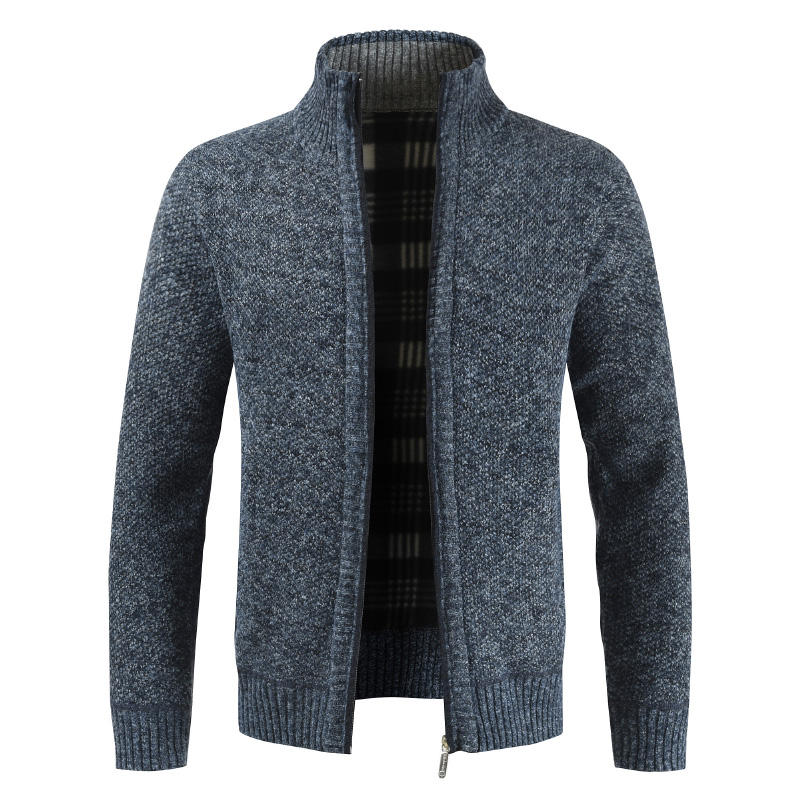 OEM new cardigan zipper collar solid color cardigan men's sweater jacket winter plus size sweaters jackets