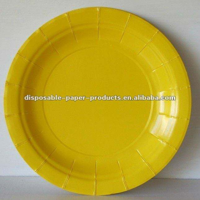 "Solid Colored Tableware Party Supply , Yellow Round 9"" Paper Lunch/Dinner Plates"